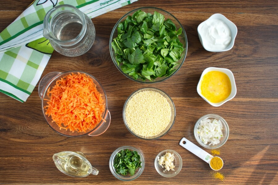 Ingridiens for Millet Cakes with Carrots & Spinach