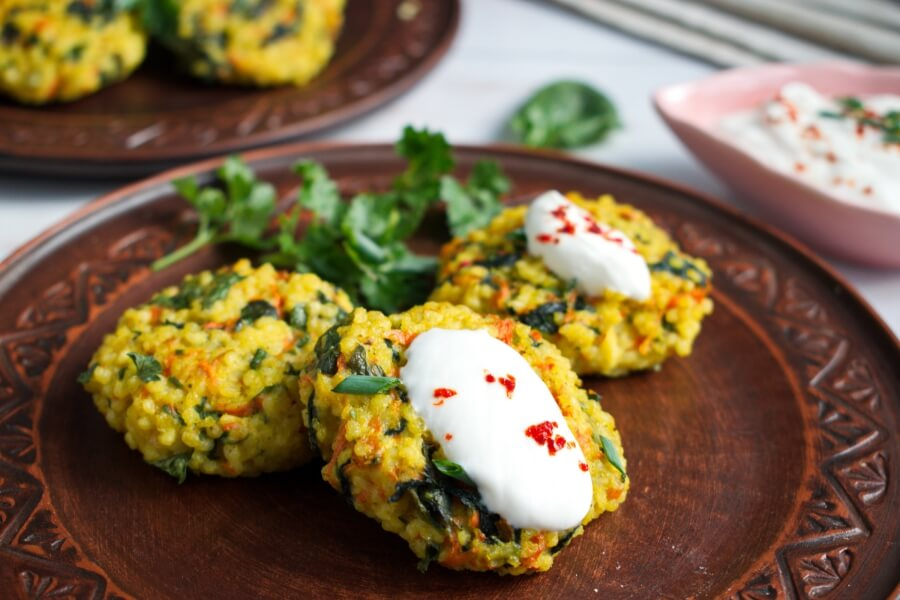 How to serve Millet Cakes with Carrots & Spinach