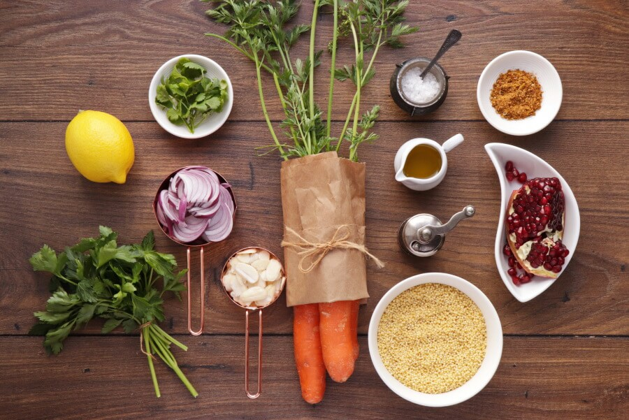 Ingridiens for Moroccan Carrot Salad with Millet