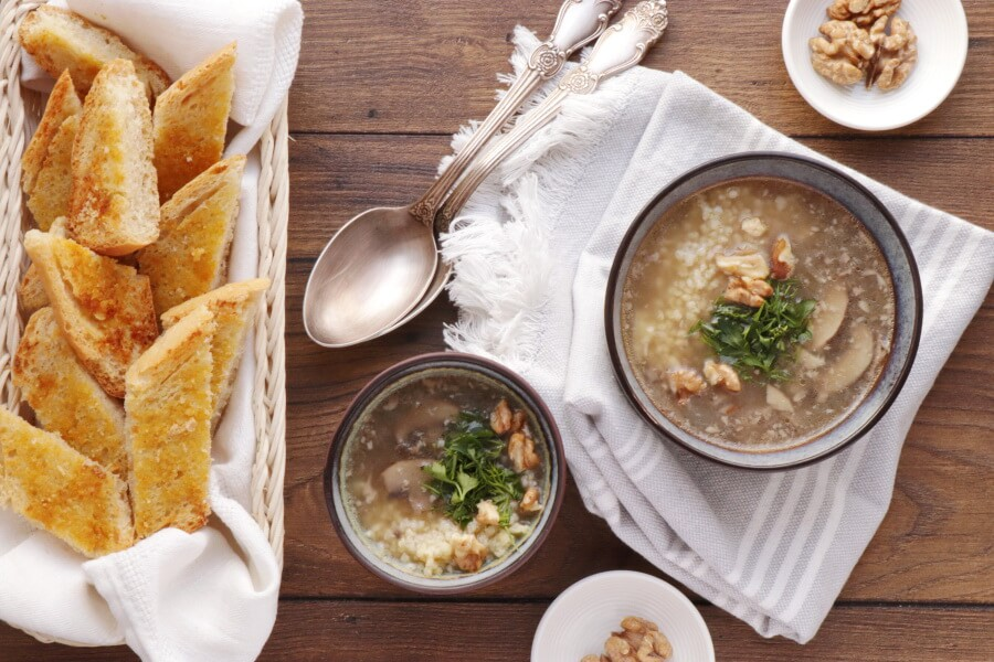 How to serve Mushroom Millet Soup with Cheesy Garlic Bread