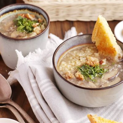 Mushroom Millet Soup with Cheesy Garlic Bread Recipe-Vegan Mushroom Millet Soup-Easy Healthy Mushroom Millet Soup
