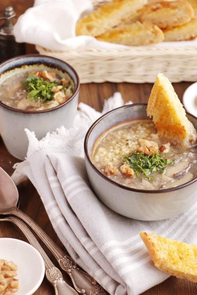 Vegan Mushroom Soup and Homemade Garlic Bread