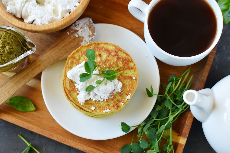How to serve Pea Shoot Savory Pancakes