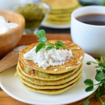 Pea Shoot Savory Pancakes Recipe-How To Make Pea Shoot Savory Pancakes-Delicious Pea Shoot Savory Pancakes