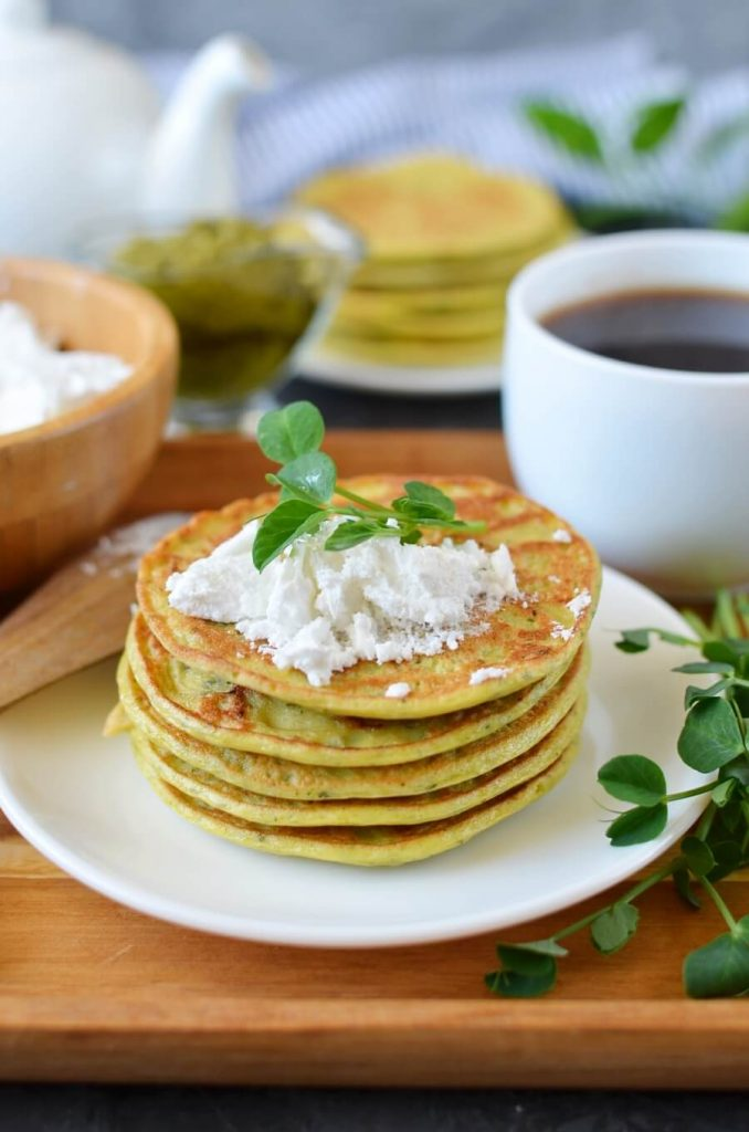 Pea Shoot Savory Pancakes