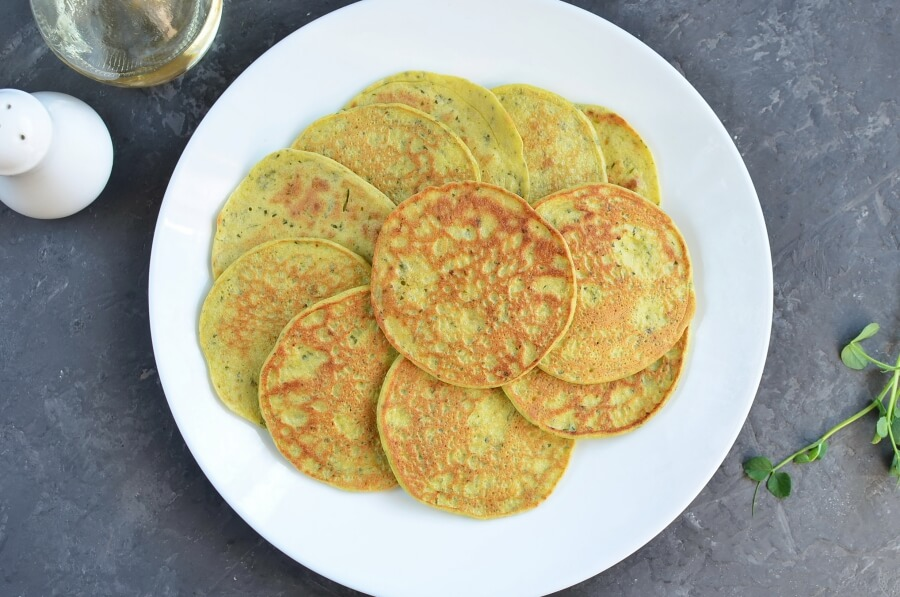 Pea Shoot Savory Pancakes recipe - step 5