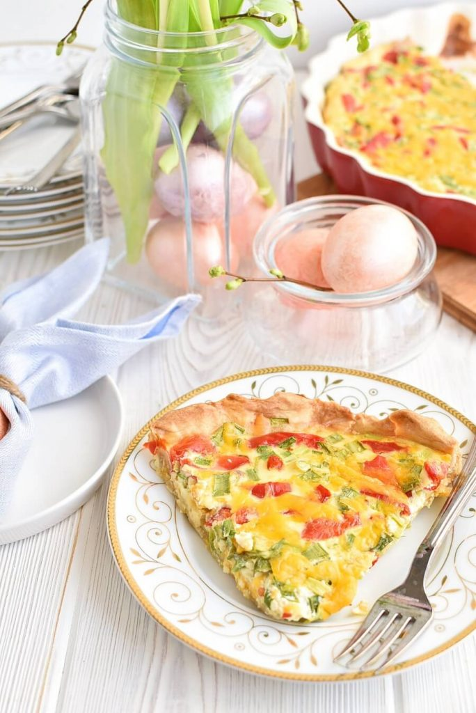 Pimiento and Cheddar Quiche with Premade Crust