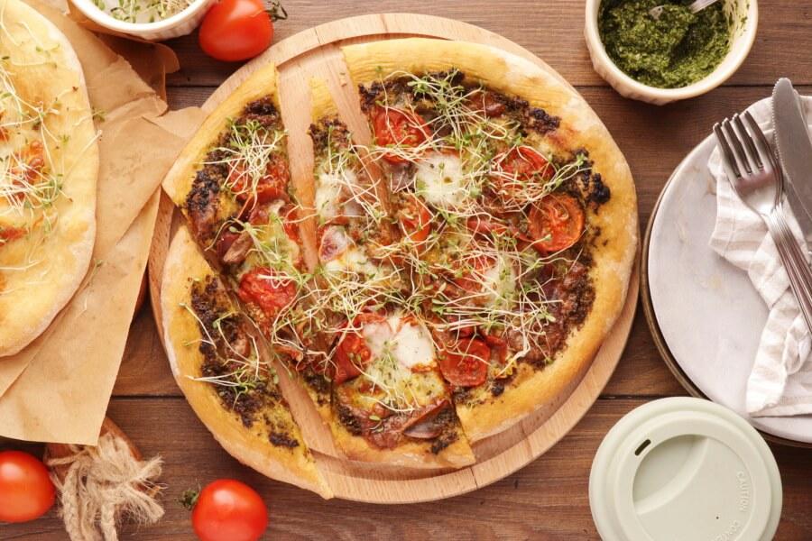 How to serve Pizza with Pesto, Mozzarella, and Microgreens