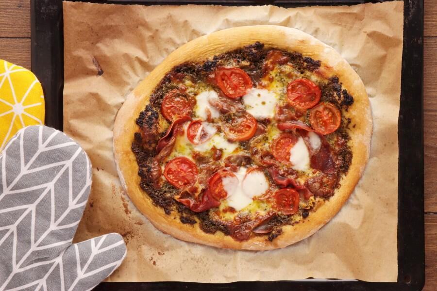 Pizza with Pesto, Mozzarella, and Microgreens recipe - step 5