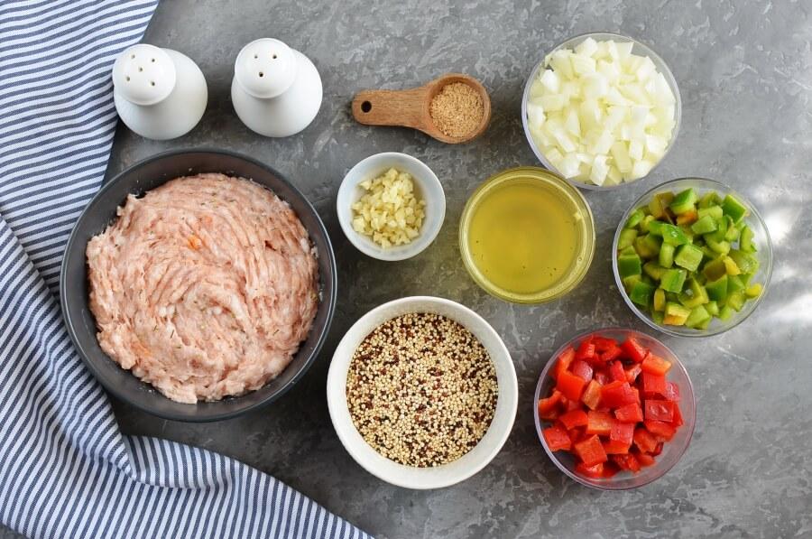 Ingridiens for Quinoa Unstuffed Peppers