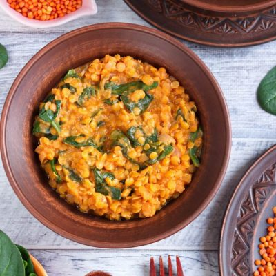 Red Lentil and Spinach Masala Recipe-Lentil Spinach Masala-Vegan Lentil Spinach Masala