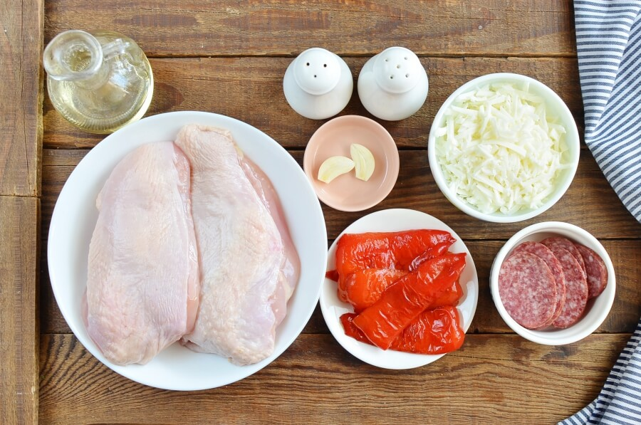 Ingridiens for Red Pepper and Mozzarella Stuffed Chicken
