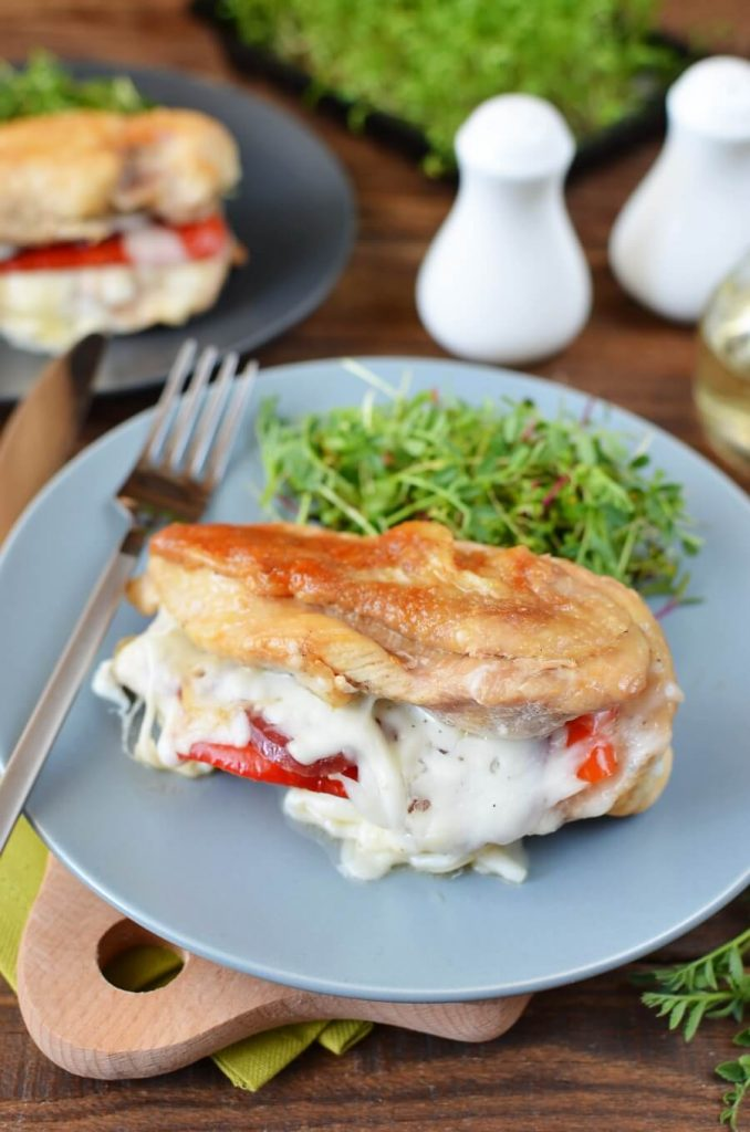 Pepper, Pepperoni and Cheesy Stuffed Chicken Breasts