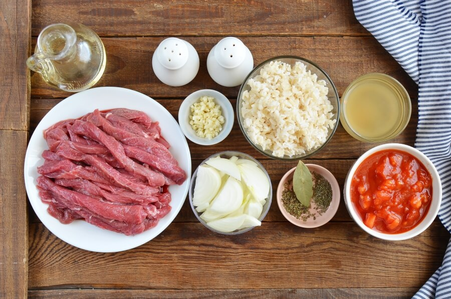 Ingridiens for Sirloin Strips over Rice