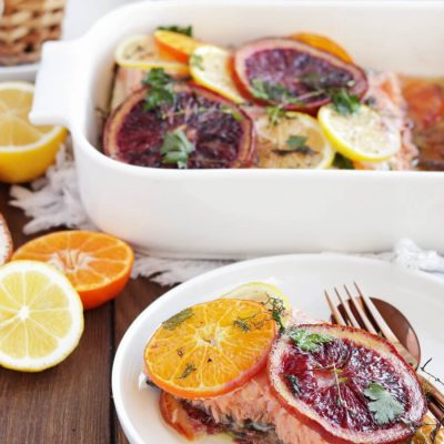 Slow Roasted Citrus Salmon Recipe-Easy Slow-Roasted Citrus Salmon-Roasted Citrus Salmon with Herbs
