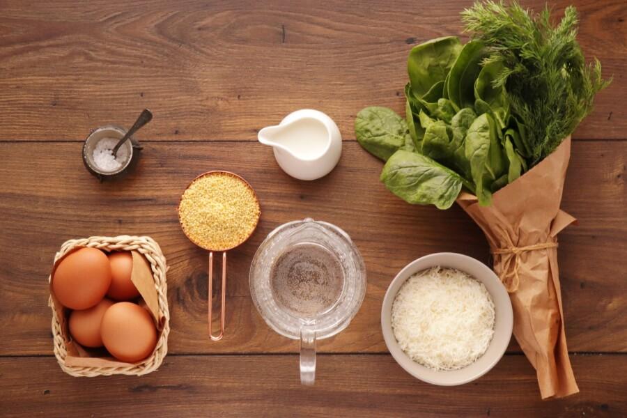Ingridiens for Spinach Millet Egg Bake