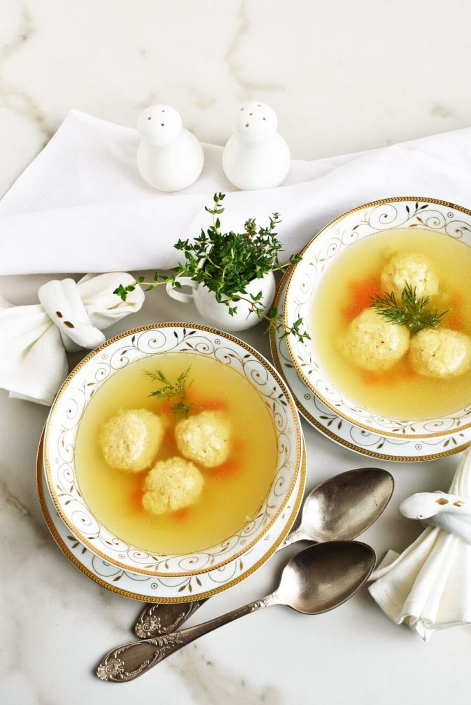 Chicken Stock Soup with Kneidel for Passover