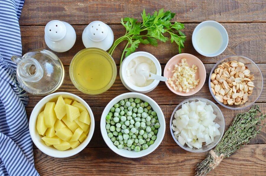 Ingridiens for Vegan Pea Soup