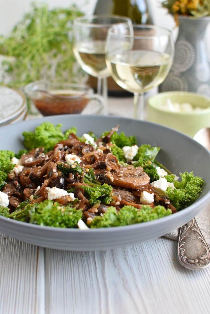 Warm Kale and Caramelized Mushroom Salad