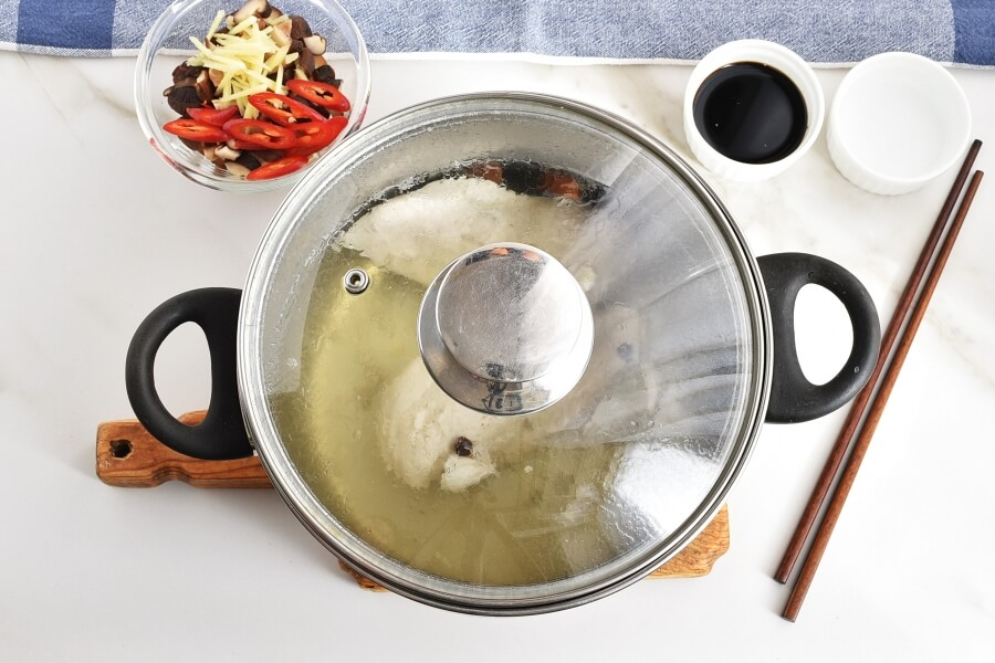 Brothy Poached Chicken with Mushrooms recipe - step 2