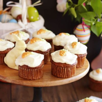 Carrot Cupcakes with Honey Cream Cheese Recipe-Carrot Cake Cupcakes with Honey Cream Cheese Frosting-Easter Cupcakes