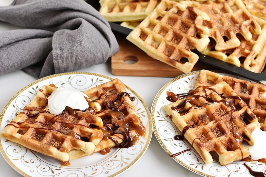 How to serve Churro Waffles