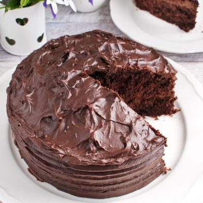 Classic Devils Food Cake recipe-Classic Devils Food Cake with Ganache Frosting-Devil's Food Cake