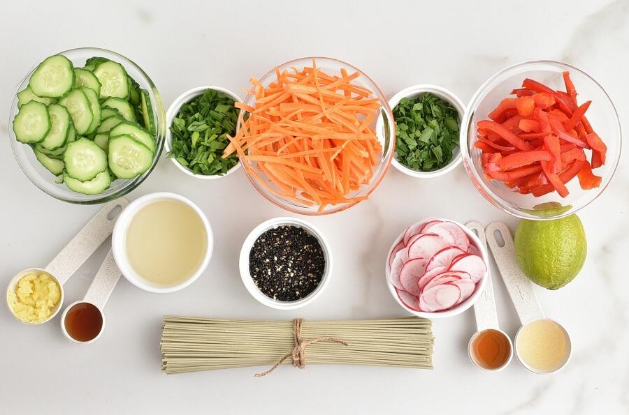 Ingridiens for Cold Soba Noodle Salad