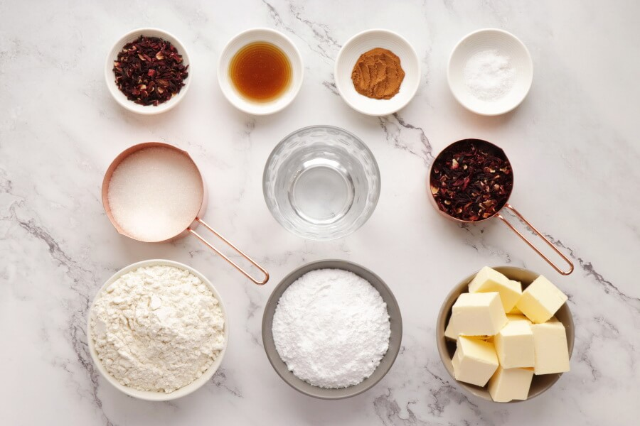 Ingridiens for Glazed Hibiscus Shortbread Cookies