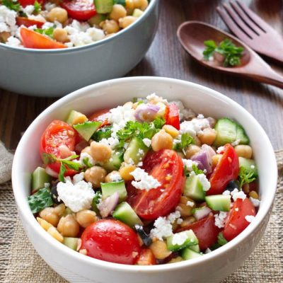 Greek Chickpea Salad Recipe-Mediterranean Chickpea Salad with Feta and Cucumber-How to make Greek chickpea salad