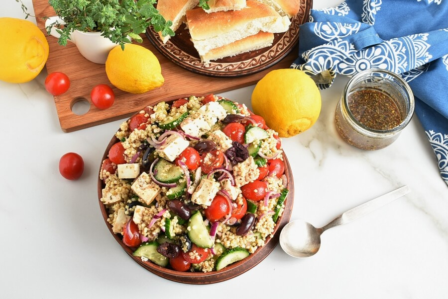 How to serve Greek Millet with Tofu Feta