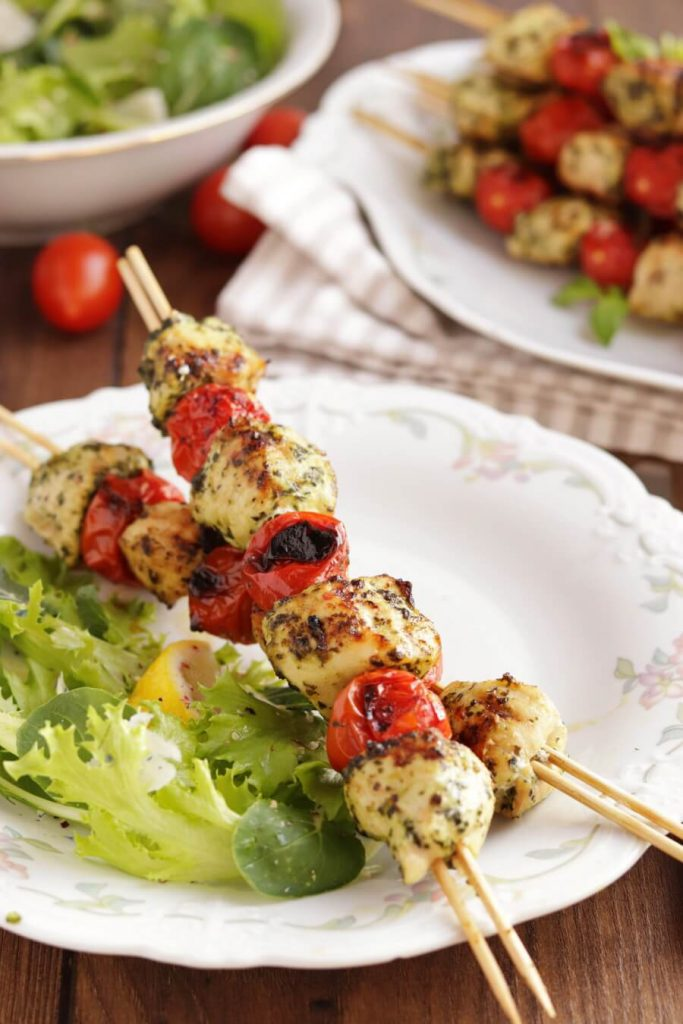 Grilled Chicken and Tomato Kebabs Recipe-Grilled Pesto Chicken and Tomato Kebabs-Grilled Chicken