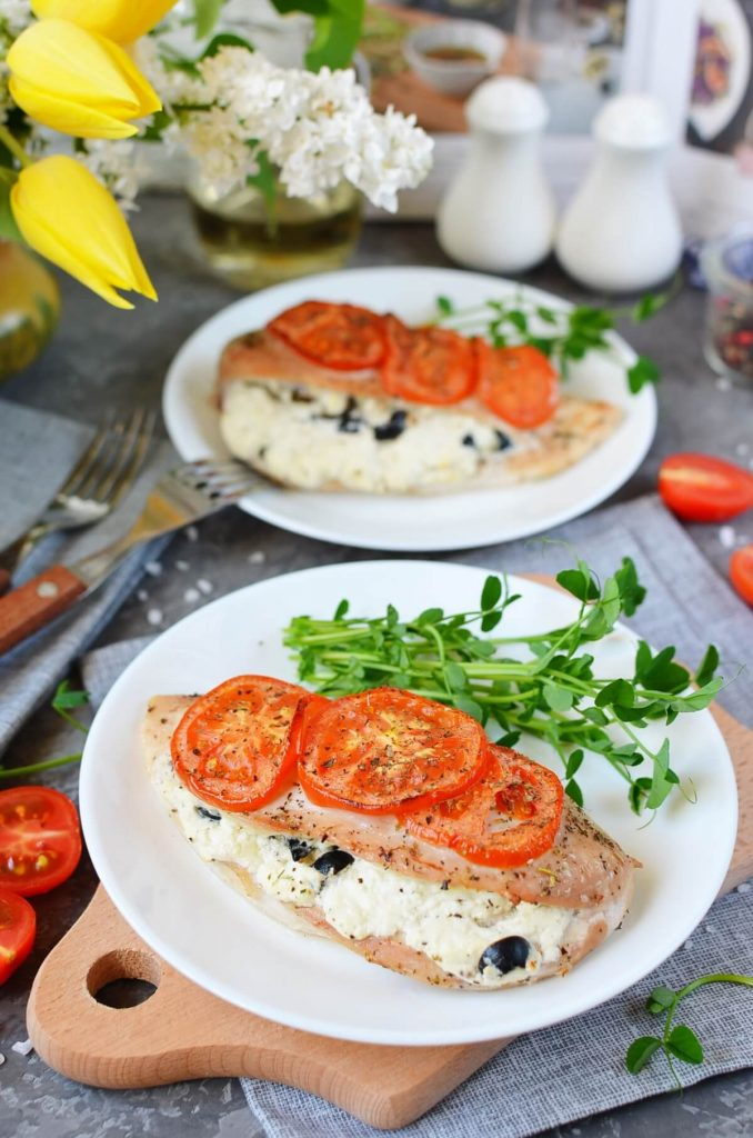 Olive and Herb, Soft Cheese Stuffed Chicken Breasts