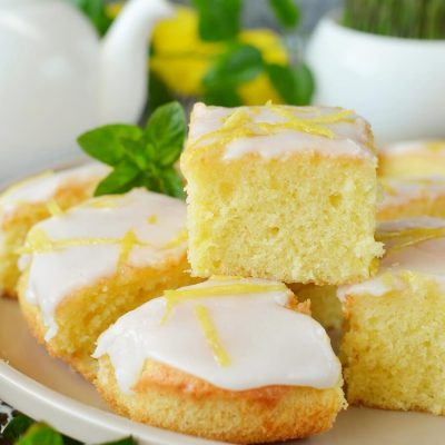 Lemon Drizzle Slices Recipe-How To Make Lemon Drizzle Slices-Delicious Lemon Drizzle Slices