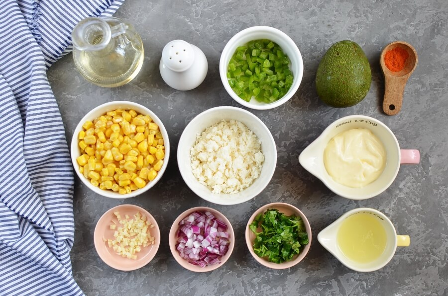 Ingridiens for Lightened Up Mexican Corn Dip
