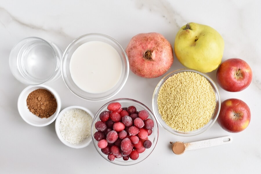 Ingridiens for Millet Porridge with Cranberries and Quince
