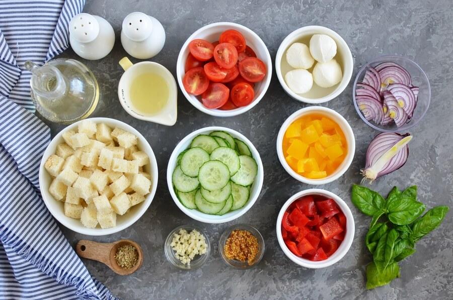 Ingridiens for Panzanella Salad