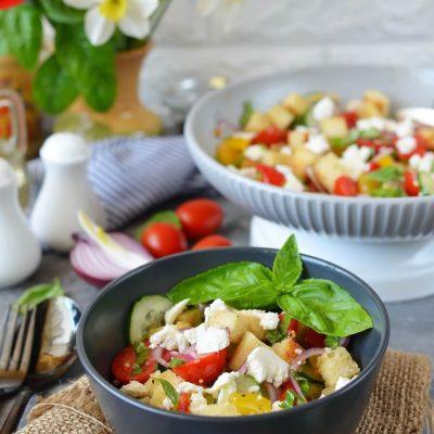 Panzanella Salad Recipe-How To Make Panzanella Salad-Homemade Panzanella Salad