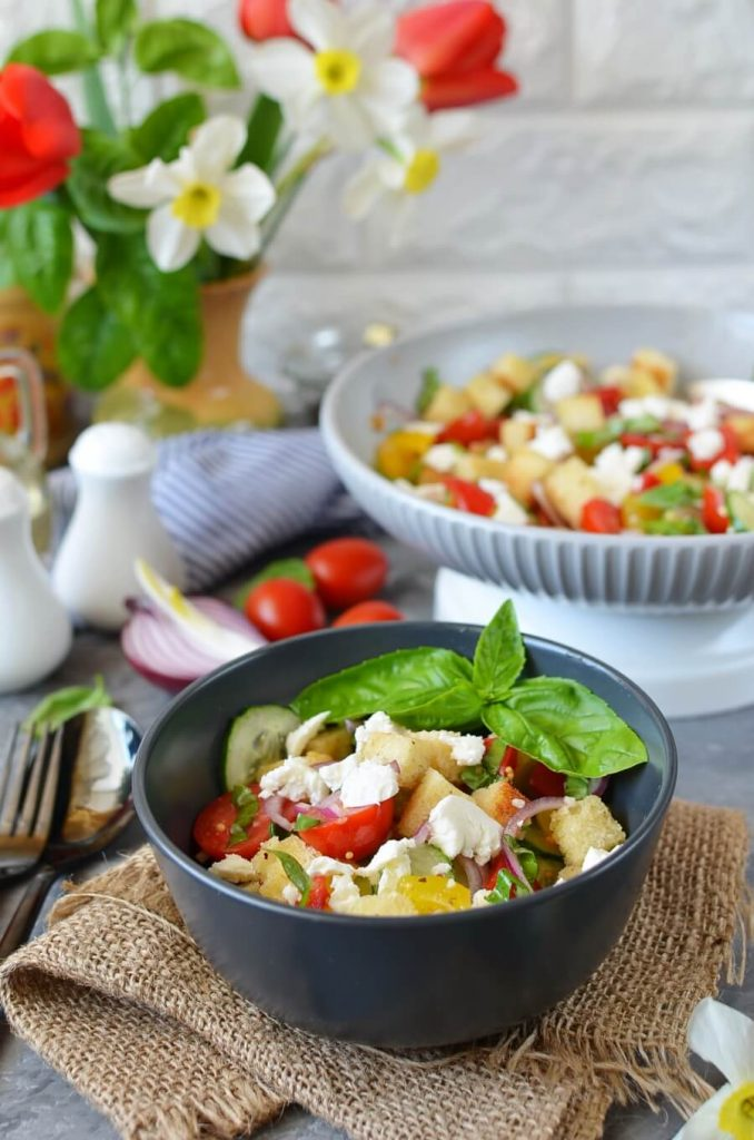 Colorful Salad with Herb Bread Cubes