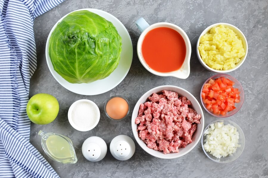 Ingridiens for Passover Stuffed Cabbage Rolls