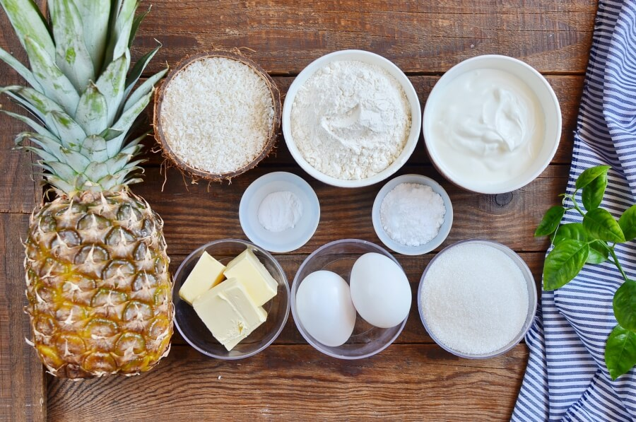 Ingridiens for Pineapple & Coconut Cake