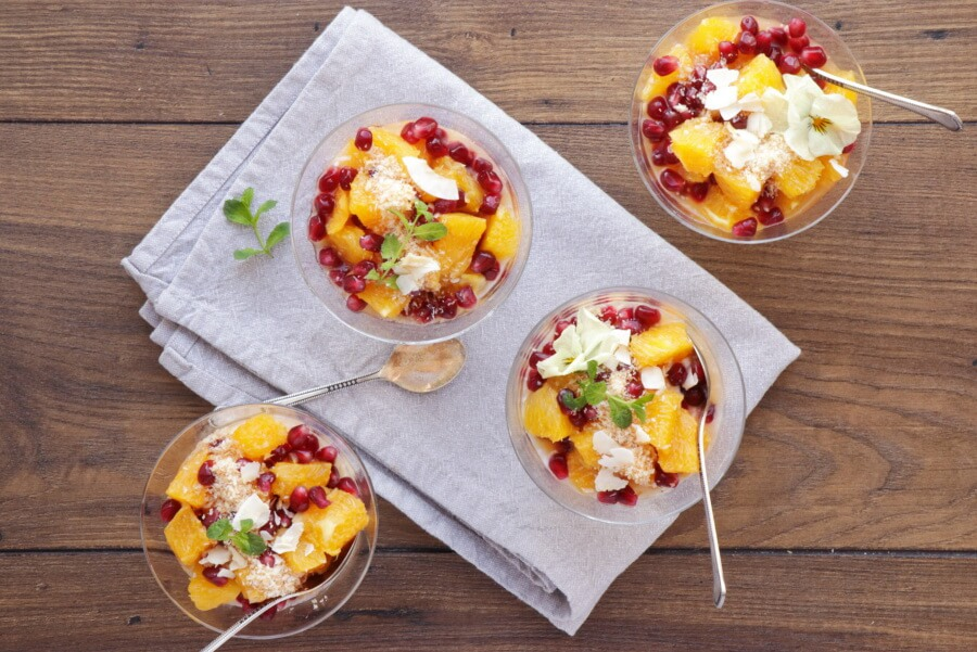 How to serve Pomegranate and Orange Fruit Salad