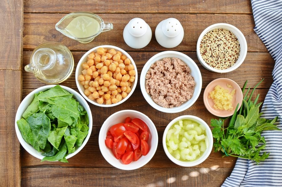 Ingridiens for Quinoa, Tuna, and Chickpea Salad