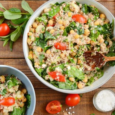 Quinoa, Tuna, and Chickpea Salad Recipe-How To Make Quinoa, Tuna, and Chickpea Salad-Homemade Quinoa, Tuna, and Chickpea Salad
