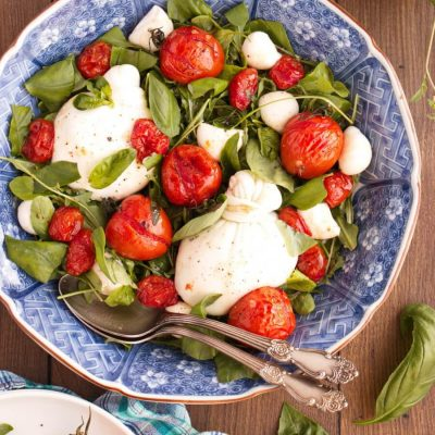 Roasted Tomato And Burrata Caprese Salad Recipe-Easy Caprese Salad-Tomato Burrata Salad