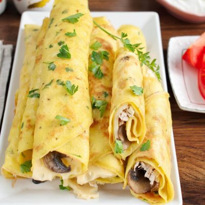 Savory Crepes with Turkey & Mushroom recipe-Savory Crepes with Turkey, Mushroom and Swiss Cheese recipe