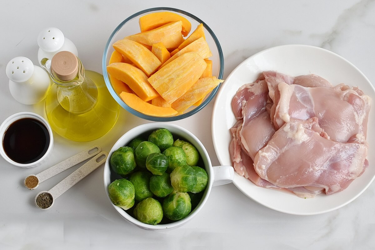 Ingridiens for Sheet-Pan Chicken & Brussels Sprouts
