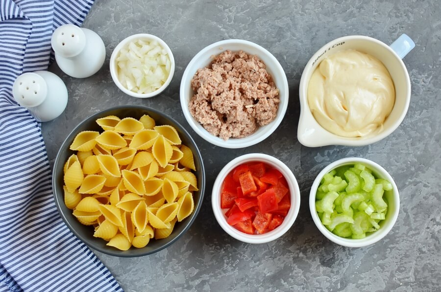 Ingridiens for Simple Tuna Macaroni Salad