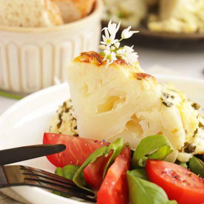 Whole Roast Cauliflower Cheese with Wild Garlic Recipe-Roasted cauliflower with wild garlic cheese sauce-Easy Whole Baked Cauliflower