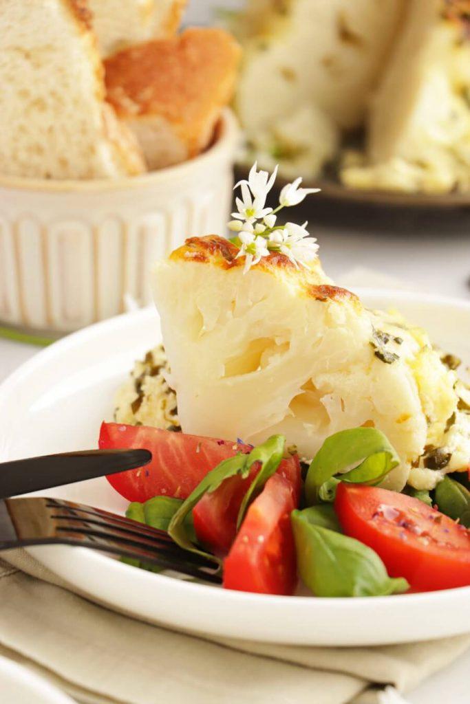 Whole Roast Cauliflower Cheese with Wild Garlic
